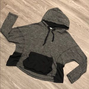 Zara Cropped Mixed Material Sweatshirt